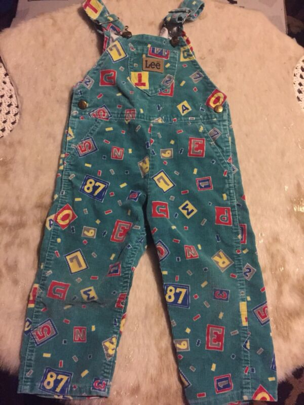 Vintage Lee bib overalls corduroy with letters and numbers sz 2T