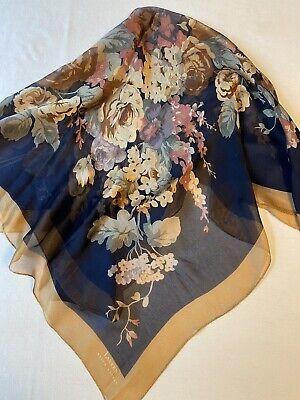 Vintage Scarf Styles -1920s to 1960s Ralph Lauren Black Floral Silk Scarf w/ Gold Border, Sheer, VTG, Square $37.00 AT vintagedancer.com