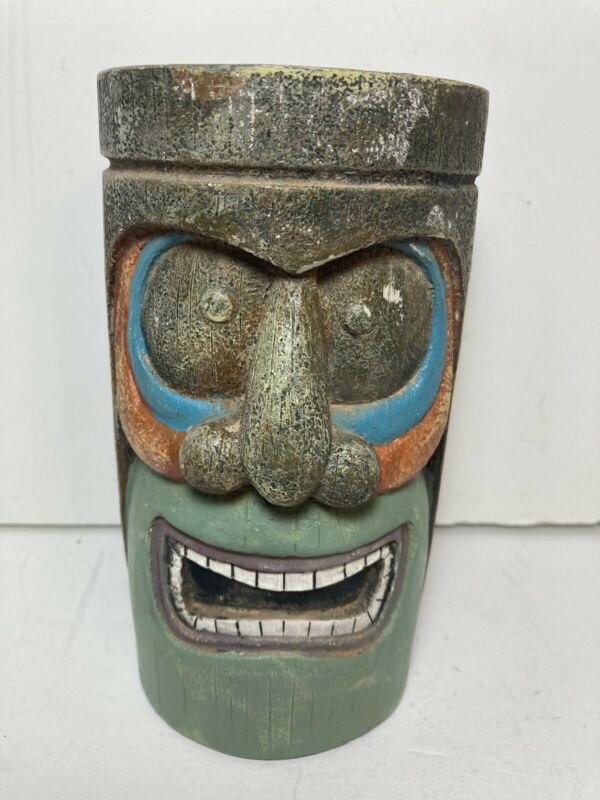 """Ceramic Tiki Face 3D Planter 6.5"""" Home Patio"""