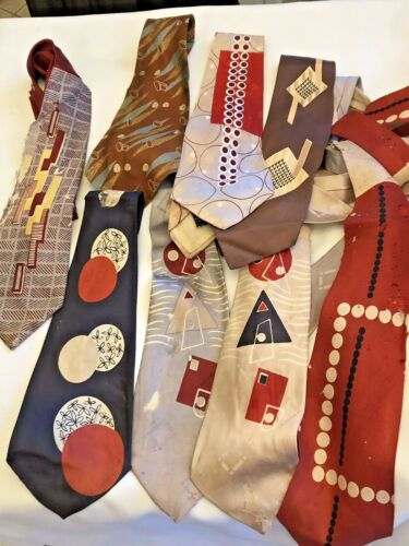 Vintage 1940s Necktie Tie Lot As Is Graphic Art Deco