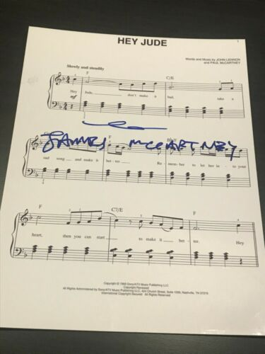 JAMES MCCARTNEY SIGNED AUTOGRAPH SHEET MUSIC BEATLES HEY JUDE PAUL MCCARTNEY COA