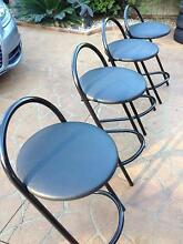 4X Black leather bad stools/chairs Casula Liverpool Area Preview