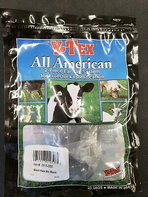 Y-tex Male Buttons For Cattle Ear Tags Black 25 Count