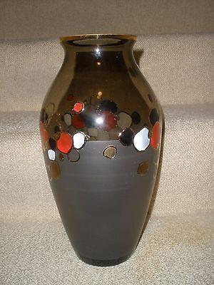 "12"" Vase Bohemian Czech Egermann Crystal Glass Hand Made Painted  NEW MINT"