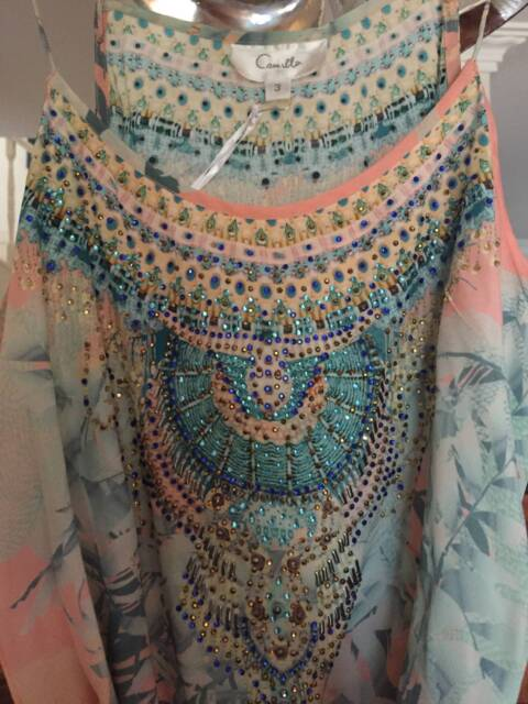6a93b6049c CAMILLA FRANKS Garden of Dreams Shoestring Strap playsuit Size 3