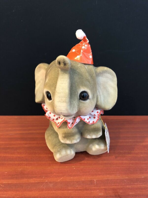 """Vintage George Good Flocked Circus Elephant Bank with Stopper, 6 1/2"""" Tall"""