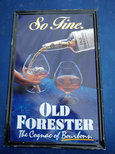 Vintage Old Forester Bourbon Whiskey Advertising Bar Wall Tin Metal Sign RARE