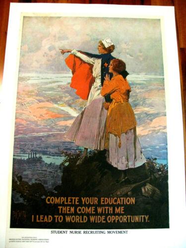 Original WWI War Poster, Complete Your Education...Nursing Assoc, Dan Smith 1918