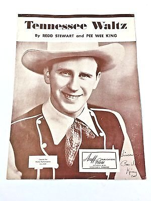 "Vintage ""Tennessee Waltz"" Sheet Music Dated 1948 Autographed By Pee Wee King"
