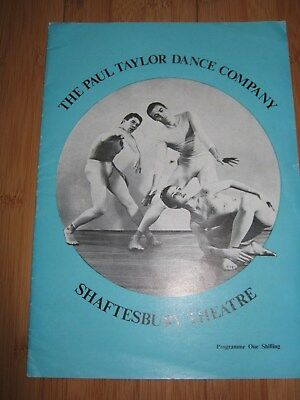 PAUL TAYLOR DANCE COMPANY PROGRAMME 1964 SHAFTESBURY THEATRE LONDON BALLET
