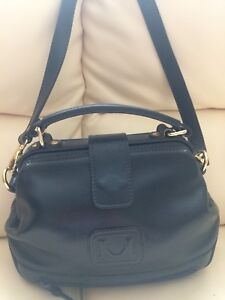 Navy blue ladies leather handbag