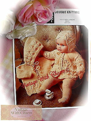 Vintage Knitting Pattern For 23in. long Baby Dolls. 4 Piece Set,  JUST £1.99