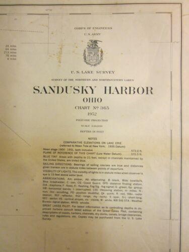 Army Corp Engineers Maritime Survey Chart Map  Sandusky Harbor Ohio 1952  40x30
