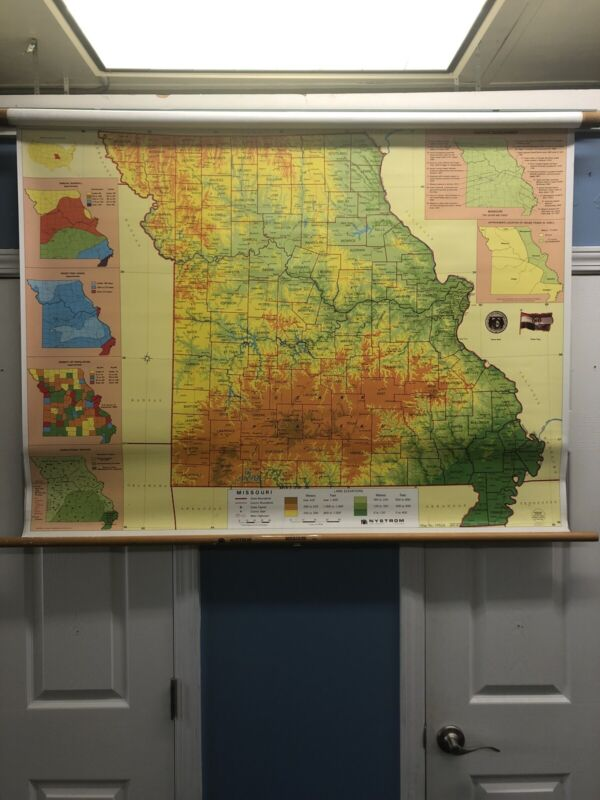 Vintage Missouri State School Nystrom Wall Map St Louis Retractable 1PS24