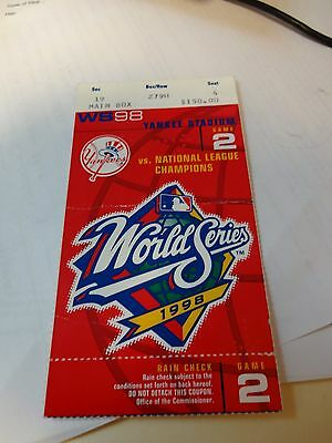1998 New York Yankees World Series vs Padres Game 2 Ticket