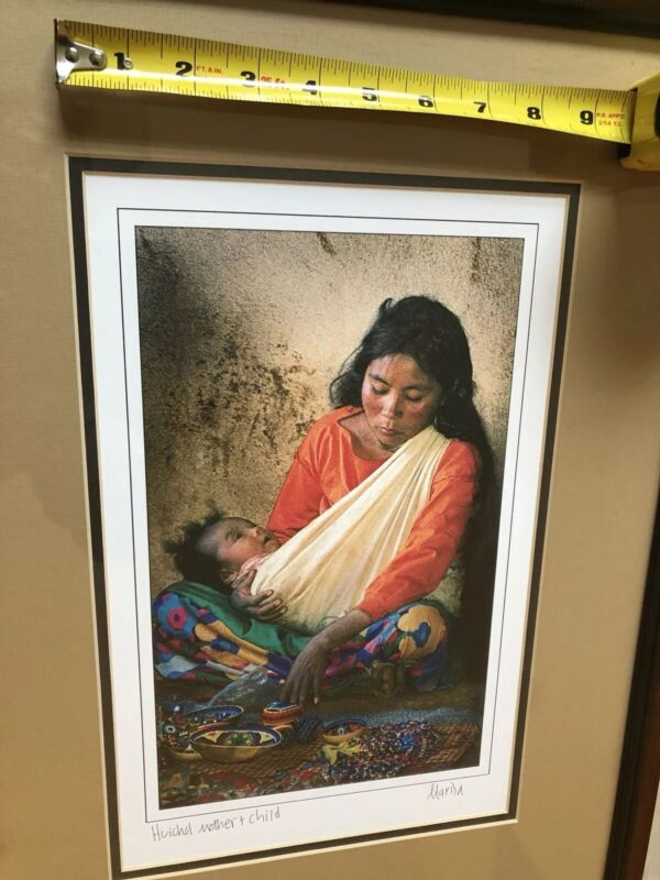 Huichol Mexican print signed by unknown artist