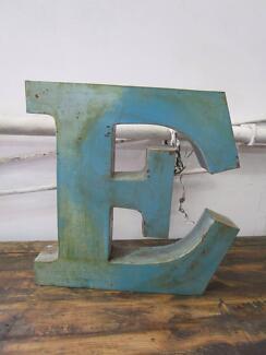 D11070 Blue Metal Letter E Industrial Wall Decor
