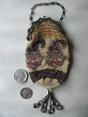 Antique Brown Paisley Crochet Silver French Steel Micro Bead Coin Purse 1800s