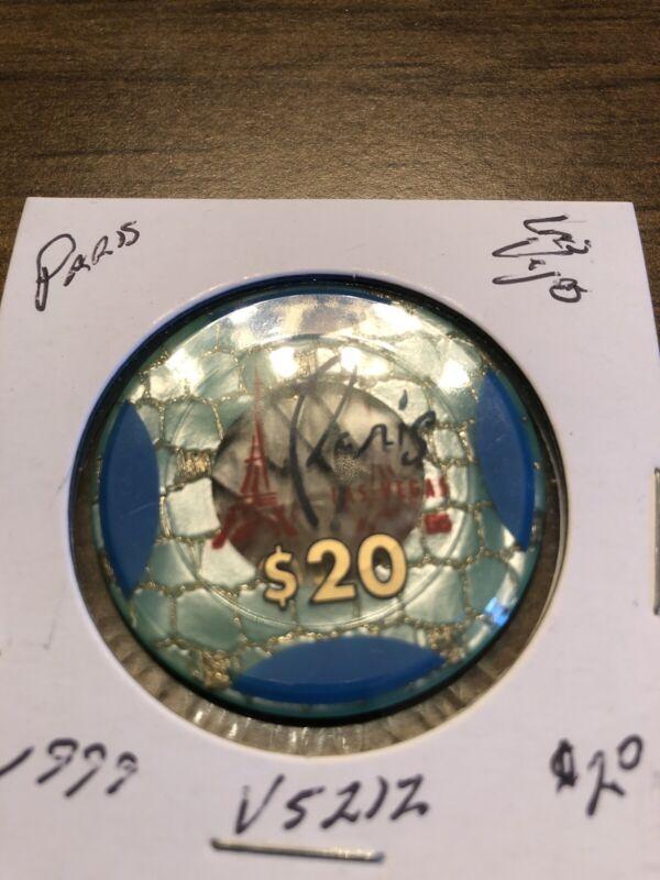 $20 paris jeton green blue areas las vegas nevada  casino chip super rare