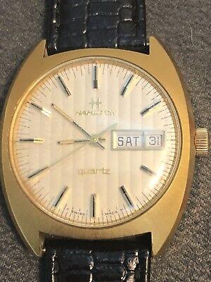 Vintage Hamilton Quartz 14k Gold Plated  1980  880002-4