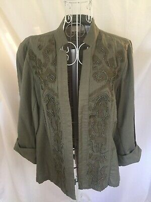 CHICO'S 0 Women's Jacket Open Front Embellished Beads Green Lightweight Small