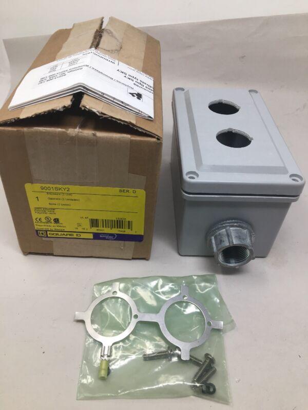 New Square D 9001sky2 Push Button Enclosure 30mm 2 Hole Plastic Gray