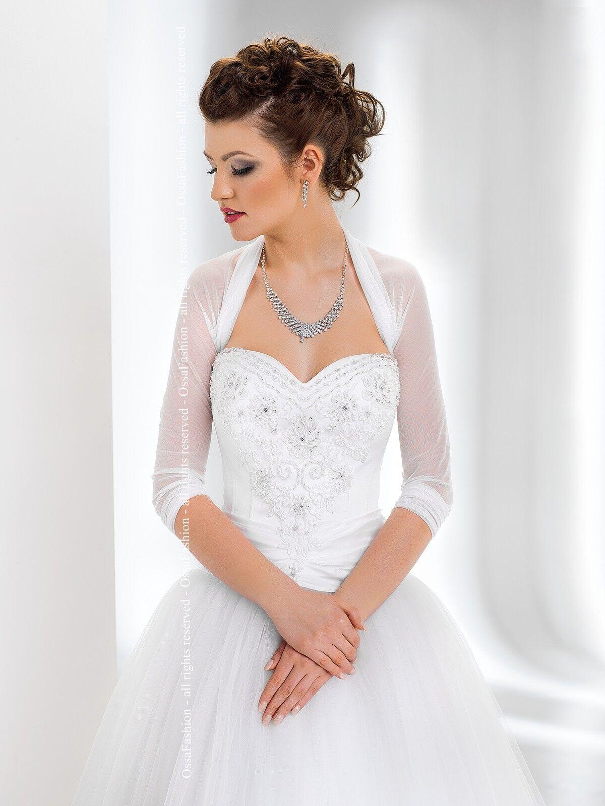 New Womens Bridal Ivory//White Tulle Lace Bolero Shrug Wedding Jacket CRYSTALS