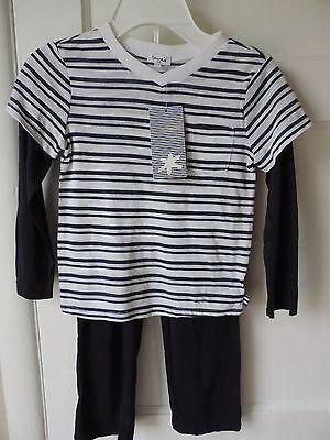 NWT Splendid Little Boy Navy Blue White Stripe Cotton Modal L/S Pant Outfit 4 5