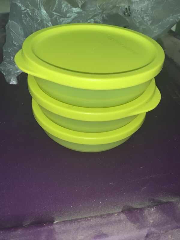 Set of 3 Tupperware Yellow Green Bowls with Lids 200mL 3/4 c. 8032A 7915A New