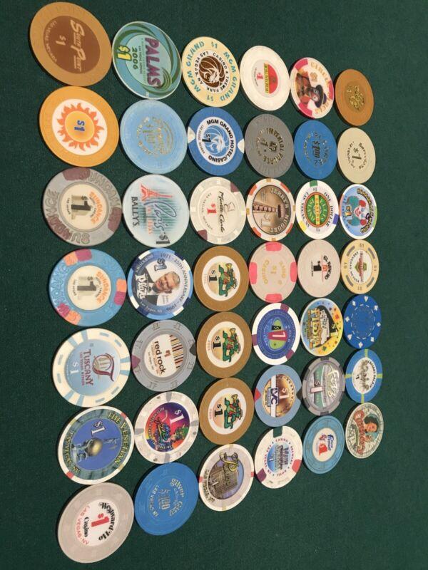 42 Different Las Vegas Casino $1 Poker Chips
