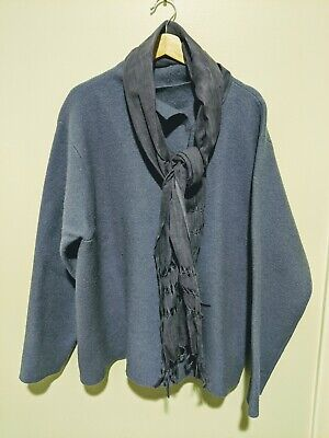 Women's Eileen Fisher Purple Wool Sweater Coat with Matching Furla Scarf size XL