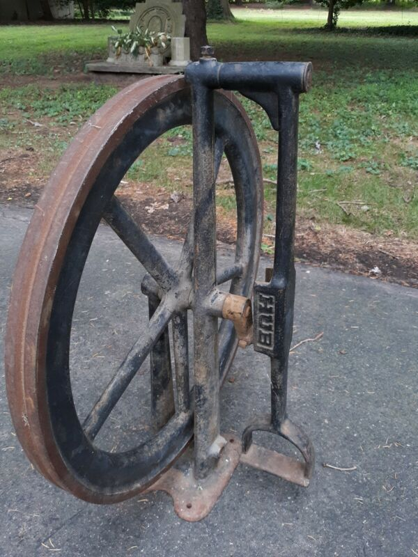 Industrial Antique Cast Iron Flywheel Machinery steampunk