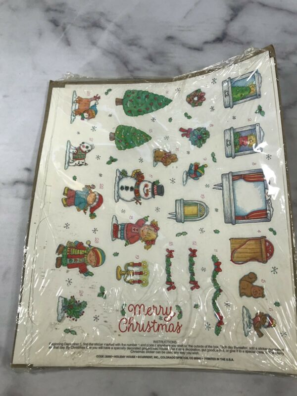 Vtg Holiday House Current Inc Gingerbread Advent Sticker House Christmas Decor