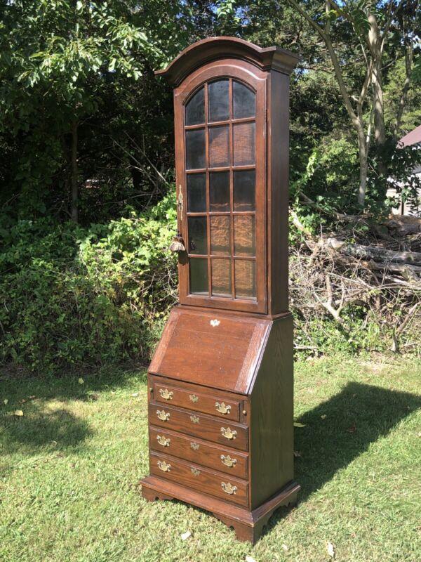 Exceptional Cushman Vermont Oak Farmhouse Secretary Desk Bookcase