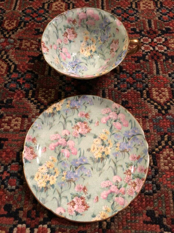 Chintz Melody w/Green Oleander Cup and Saucer Shelley China