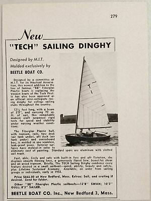 1953 Print Ad Beetle Boat Tech Sailing Dinghy New Bedford,MA