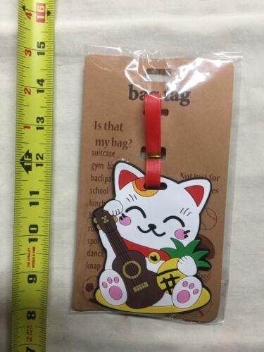 Japanese Maneki Neko Good Luck Lucky Cat Hawaii Style Travel Luggage Bag Tag New
