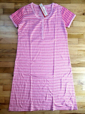 Nightie Nightgown - NWT HANNA ANDERSSON SHORT SLEEVE ROSE PINK STRIPED NIGHTGOWN NIGHTIE M L XL NEW!