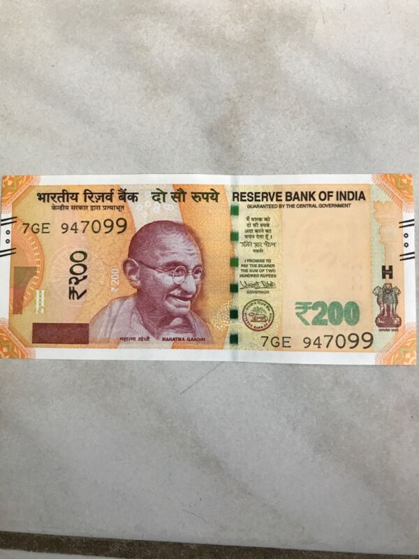 New Indian Currency 200 Rupee Note Mahatma Gandhi In The Front And Sanchi Stupa