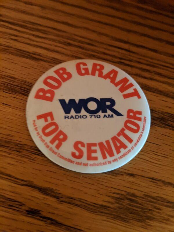 Bob Grant For U.S. Senate from New Jersey 2000, WOR Radio 710AM Campaign Button