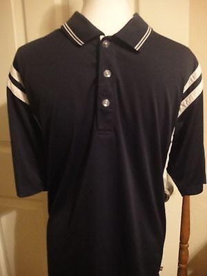 Mens Wilson Hyper Tek System Short Sleeve  Navy  Polo Tennis Shirt  Size Large