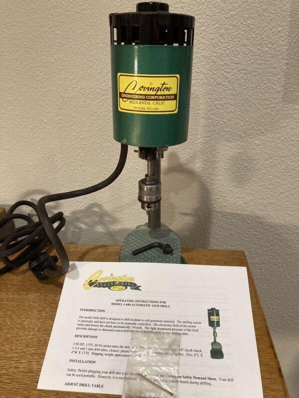 Covington Automatic Gem Drill Soft Gemstones Glass Lapidary Mod# 600 Made In USA