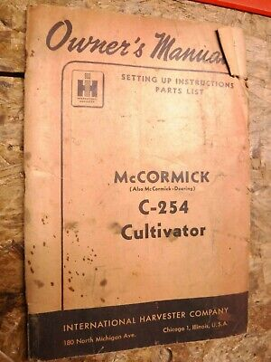 1949 International Harvester Mccormick C-254 Cultivator Owners Manual Parts List