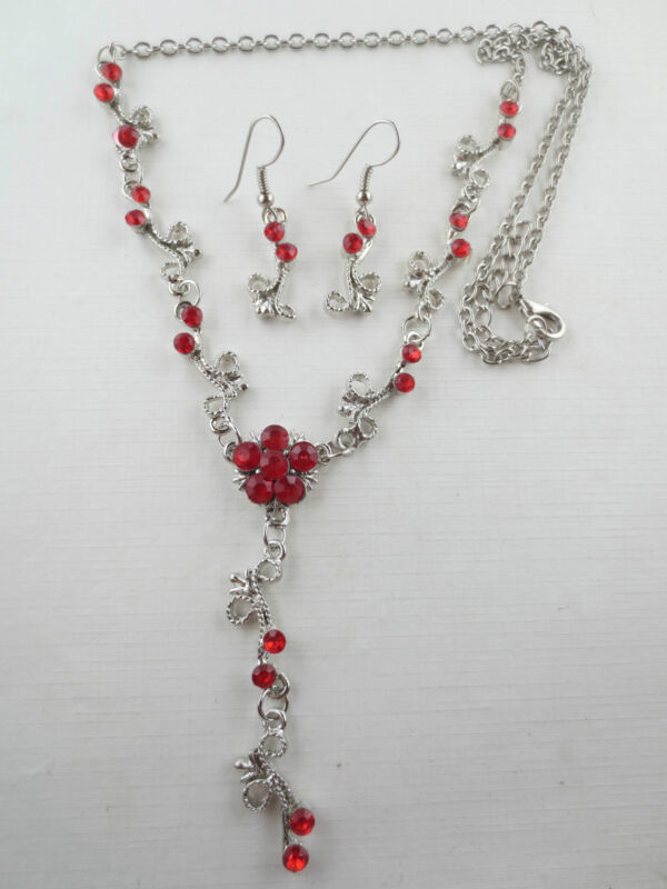 Vintage Style Dangling Red Rhinestone Flower Lariat Necklace Earrings R49
