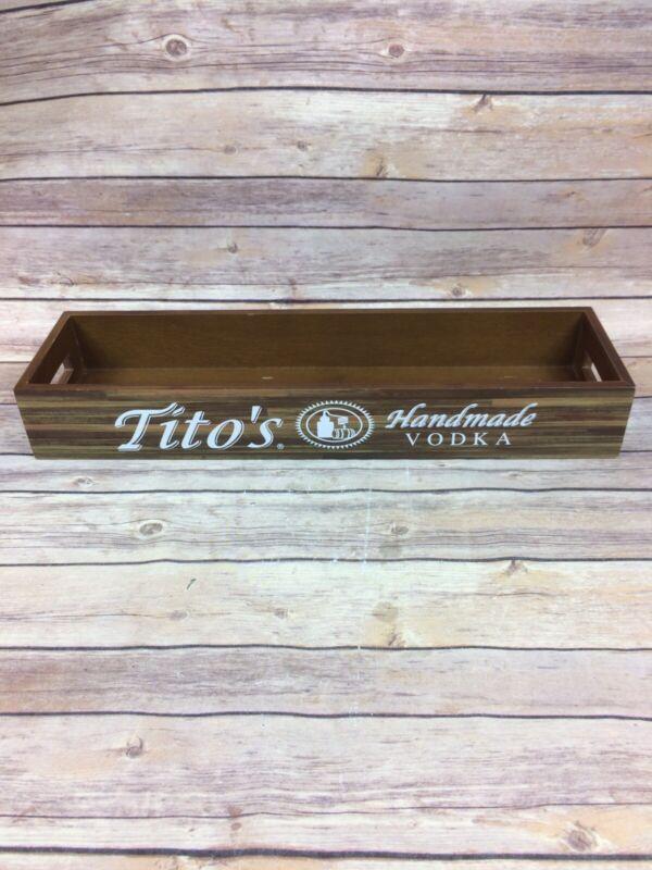 Tito's Handmade Vodka Wood Bar Caddy / Box / Tray