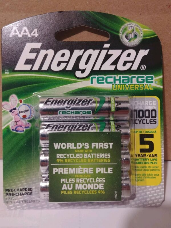 4 count Energizer Rechargeable AA Batteries