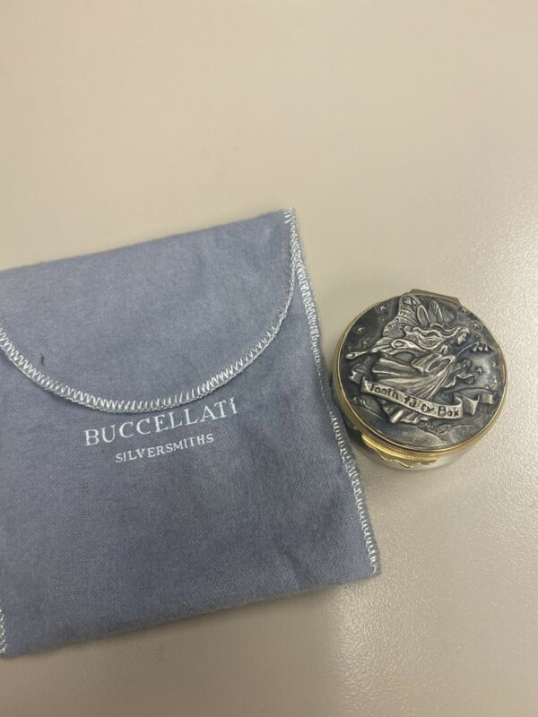 Buccellati Italian Italy Sterling Silver Tooth Fairy Box Gold Accent
