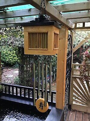 Handcrafted Hanging Oriental Large Bamboo Box Wind Chimes - NATURAL/BLACK