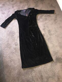 Midnight black Velvet wrap dress