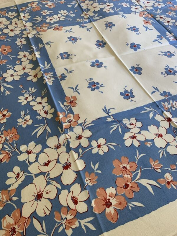 Pristine Calloway Vintage Hand Printed Cotton Floral TABLECLOTH ~ 48x50 Unused!